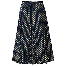 Buy East Booti Print Flared Midi Cotton Skirt, Indigo Online at johnlewis.com
