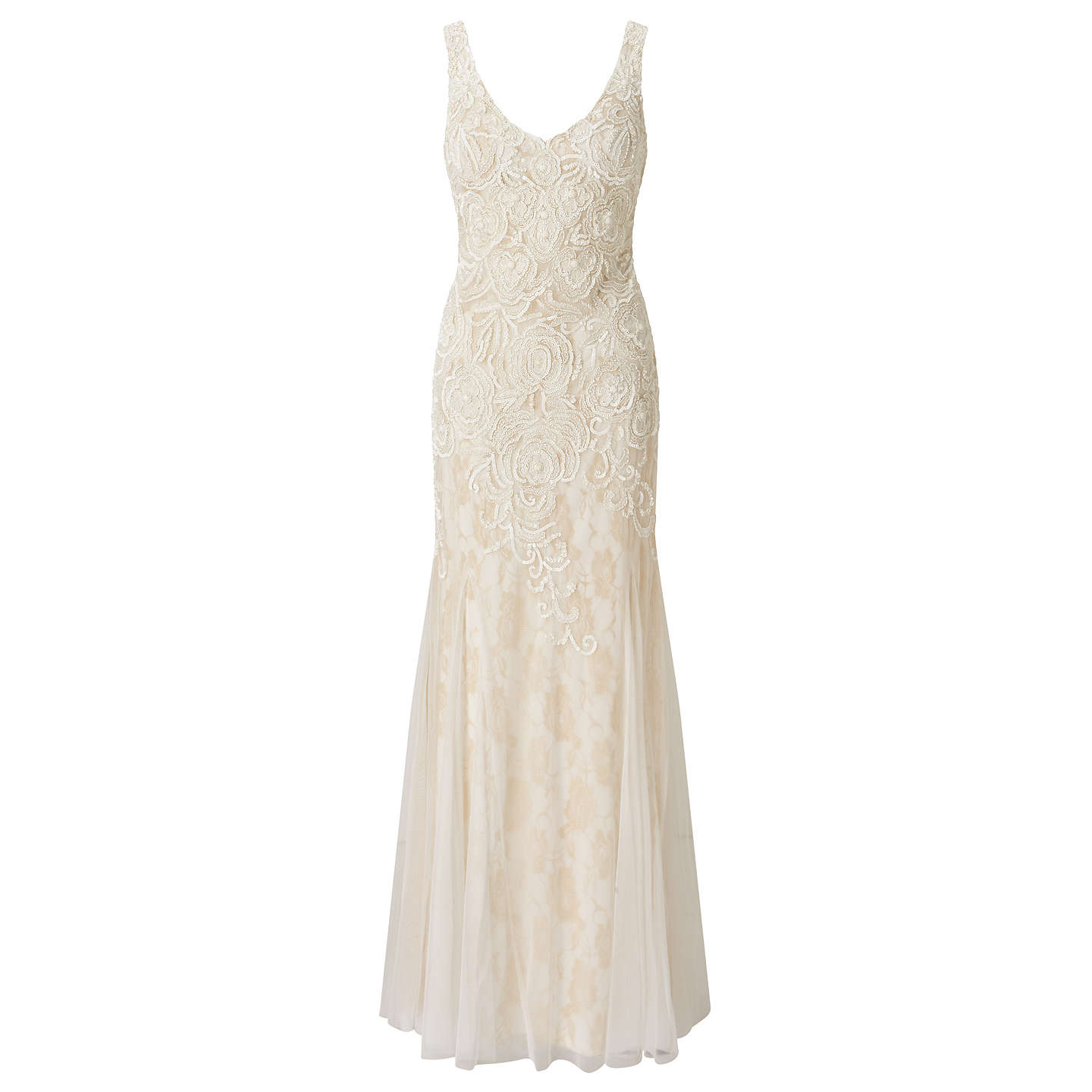 Adrianna Papell Sleeveless Beaded Mermaid Gown, Ivory at John Lewis