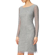 Buy Adrianna Papell Long Sleeve Beaded Cocktail Dress, Blue Mist Online at johnlewis.com