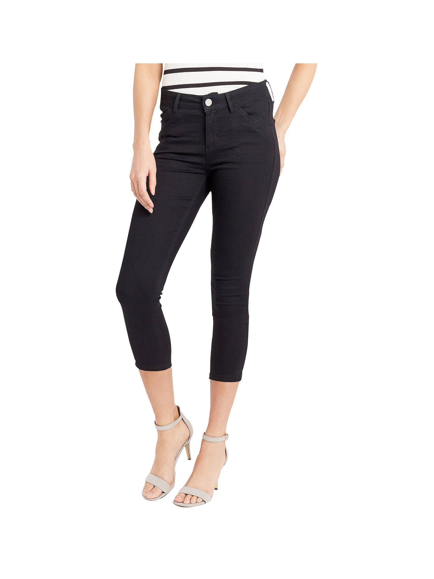 39ff7c2d177a Buy Oasis High Waisted Grace Capri Jeans, Black, 8 Online at johnlewis.com  ...