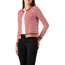 Buy Hobbs Jane Stripe Cardigan, Cayenne Red/White Online at johnlewis.com