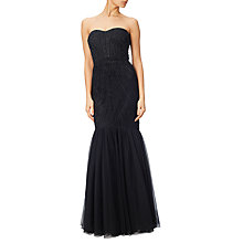 Buy Adrianna Papell Beaded Tulle Trumpet Gown, Black Online at johnlewis.com