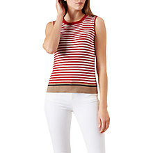 Buy Hobbs Jane Stripe Sleeveless Knit Top, Cayenne Red/White Online at johnlewis.com