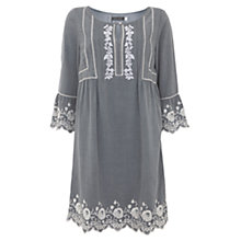 Buy Mint Velvet Chambray Embroidered Smock Dress, Light Blue Online at johnlewis.com