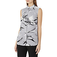 Buy Reiss Bex Floral Print Sleeveless Silk Shirt, Grey/Black Online at johnlewis.com