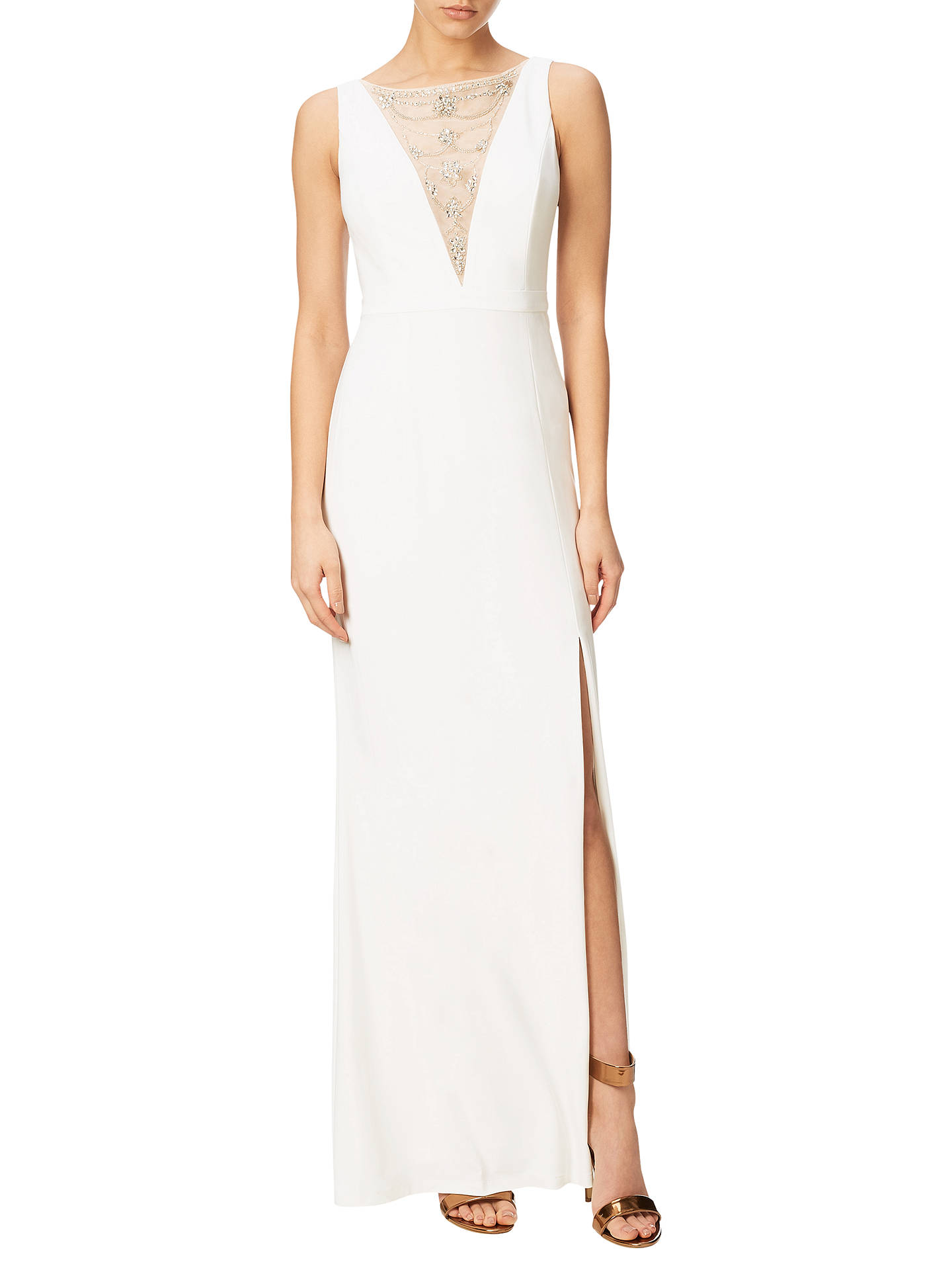 BuyAdrianna Papell Jersey Halter Neck Gown, Ivory, 8 Online at johnlewis.com