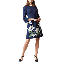 Buy Hobbs Magnolia Print Dress, Navy Online at johnlewis.com