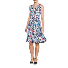 Buy East Lorenna Print Pleat Dress, Rouge Online at johnlewis.com