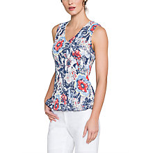 Buy East Lorenna Print Pleat Top, Rouge Online at johnlewis.com