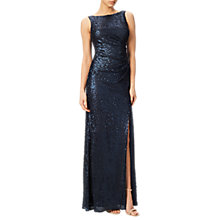 Buy Adrianna Papell Sequin Pailette V-Neck Gown, Midnight Online at johnlewis.com