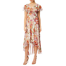 Buy Adrianna Papell Floral Print Wrap Dress With Long Ruffle, Tangerine/Multi Online at johnlewis.com