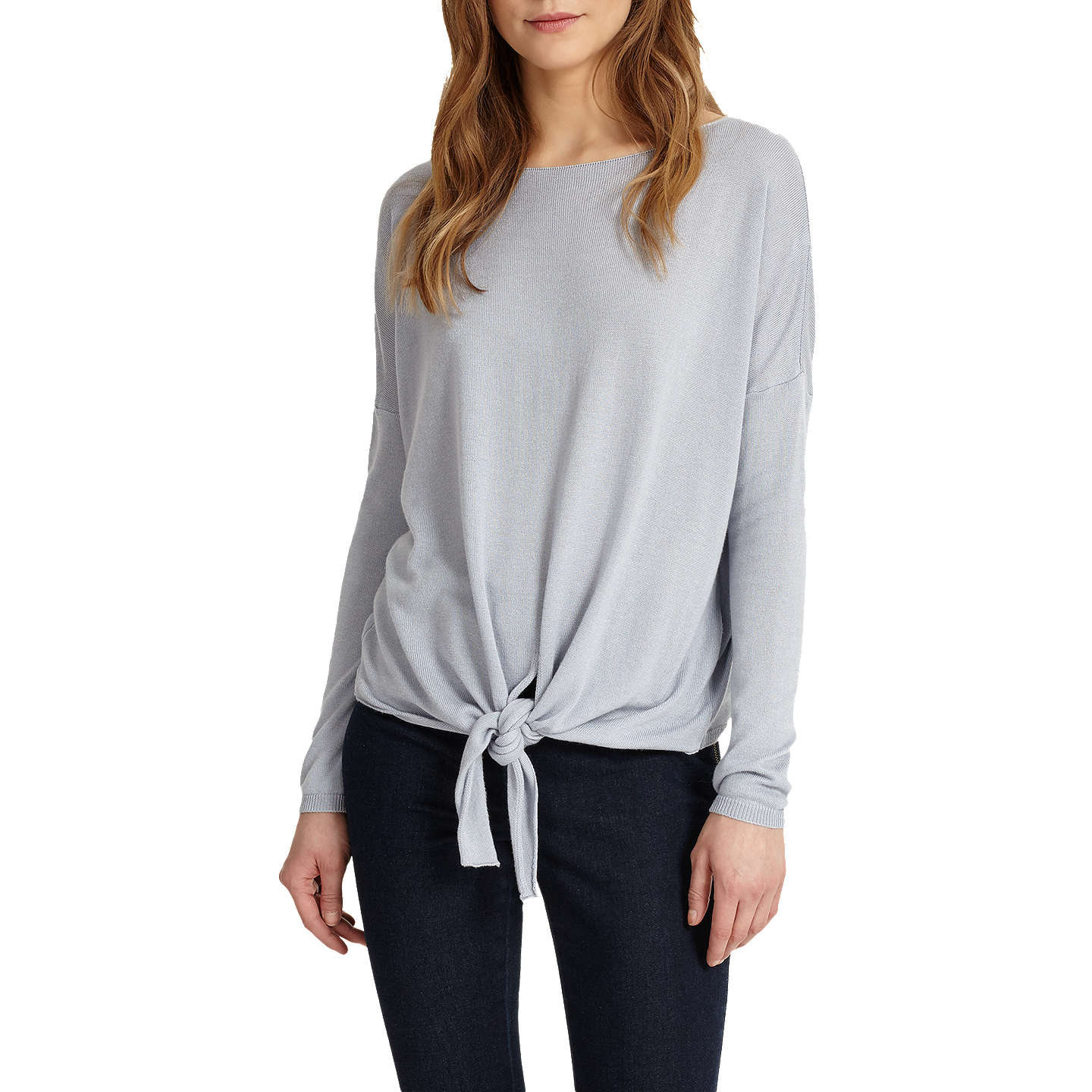 BuyPhase Eight Jolanda Tie Front Jumper, Soft Blue, XS Online at johnlewis.com