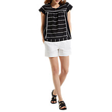Buy White Stuff Nova Stripe Top, Black Online at johnlewis.com