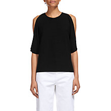 Buy Whistles Split Shoulder Fine Cotton T-Shirt, Black Online at johnlewis.com