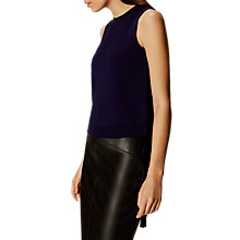 Buy Karen Millen Lace Up Eyelet Top, Navy Online at johnlewis.com