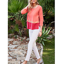 Buy Pure Collection Colour Block Relaxed Gassato Jumper, Coral Online at johnlewis.com