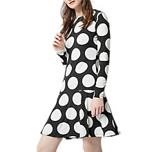 Buy Warehouse Oversized Dot Dress, Black/White Online at johnlewis.com