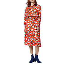 Buy Warehouse Floating Floral Midi Dress, Orange/Multi Online at johnlewis.com