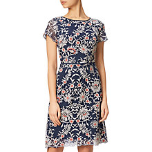 Buy Adrianna Papell Embroidered A-Line Dress, Navy/Taupe Online at johnlewis.com