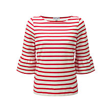 Buy Pure Collection Frill Sleeve Stripe Jersey Top Online at johnlewis.com