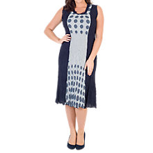 Buy Chesca Spot Trim Crush Pleat Dress, Navy/Ivory Online at johnlewis.com