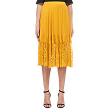 Buy Whistles Lilian Pleated Skirt, Yellow Online at johnlewis.com