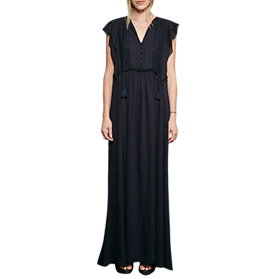 Product photo of French connection sophie sheer tie waste maxi dress utility blue