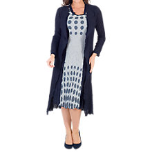 Buy Chesca Spot Trim Crush Pleat Coat, Navy/Ivory Online at johnlewis.com