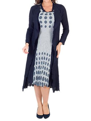 Chesca Spot Trim Crush Pleat Coat, Navy/Ivory
