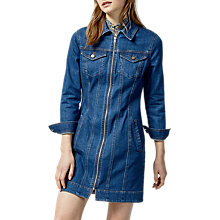 Buy Warehouse Zip Front Denim Dress, Blue Online at johnlewis.com