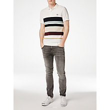 Buy Fred Perry Multi Stripe Piqué Polo Shirt, Snow White Online at johnlewis.com