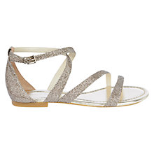 Buy Karen Millen Glitter Flat Sandals, Gold Online at johnlewis.com
