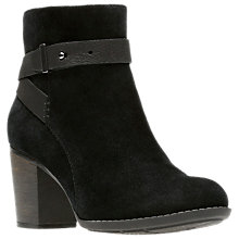 Buy Clarks Enfield Sari Block Heeled Ankle Boots, Black Suede Online at johnlewis.com