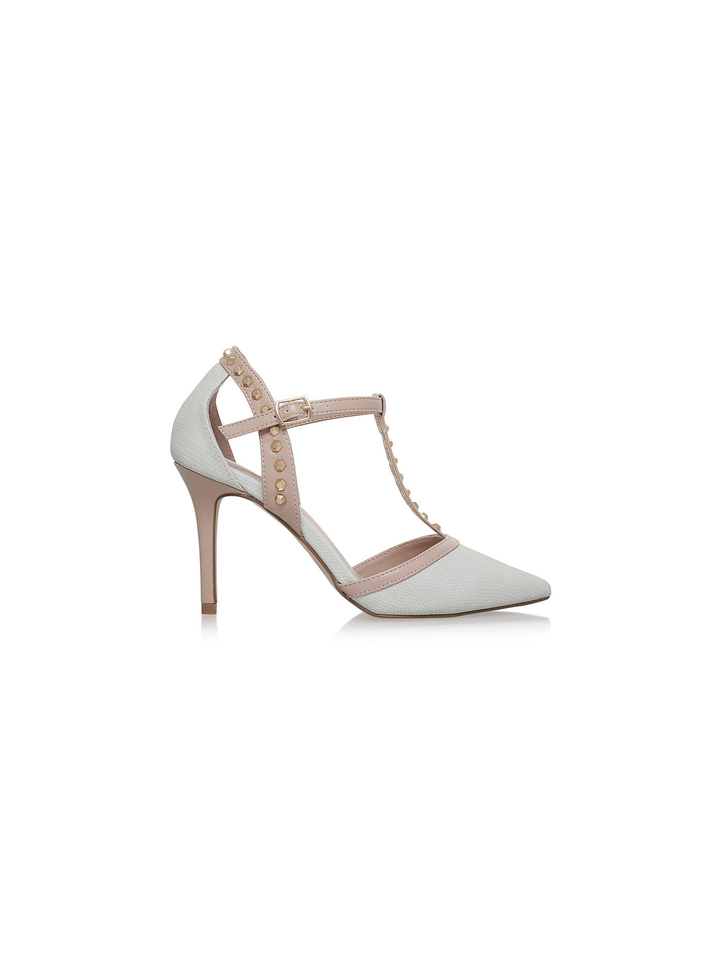 BuyCarvela Kankan Studded T-Bar Court Shoes, Cream, 3 Online at johnlewis.com