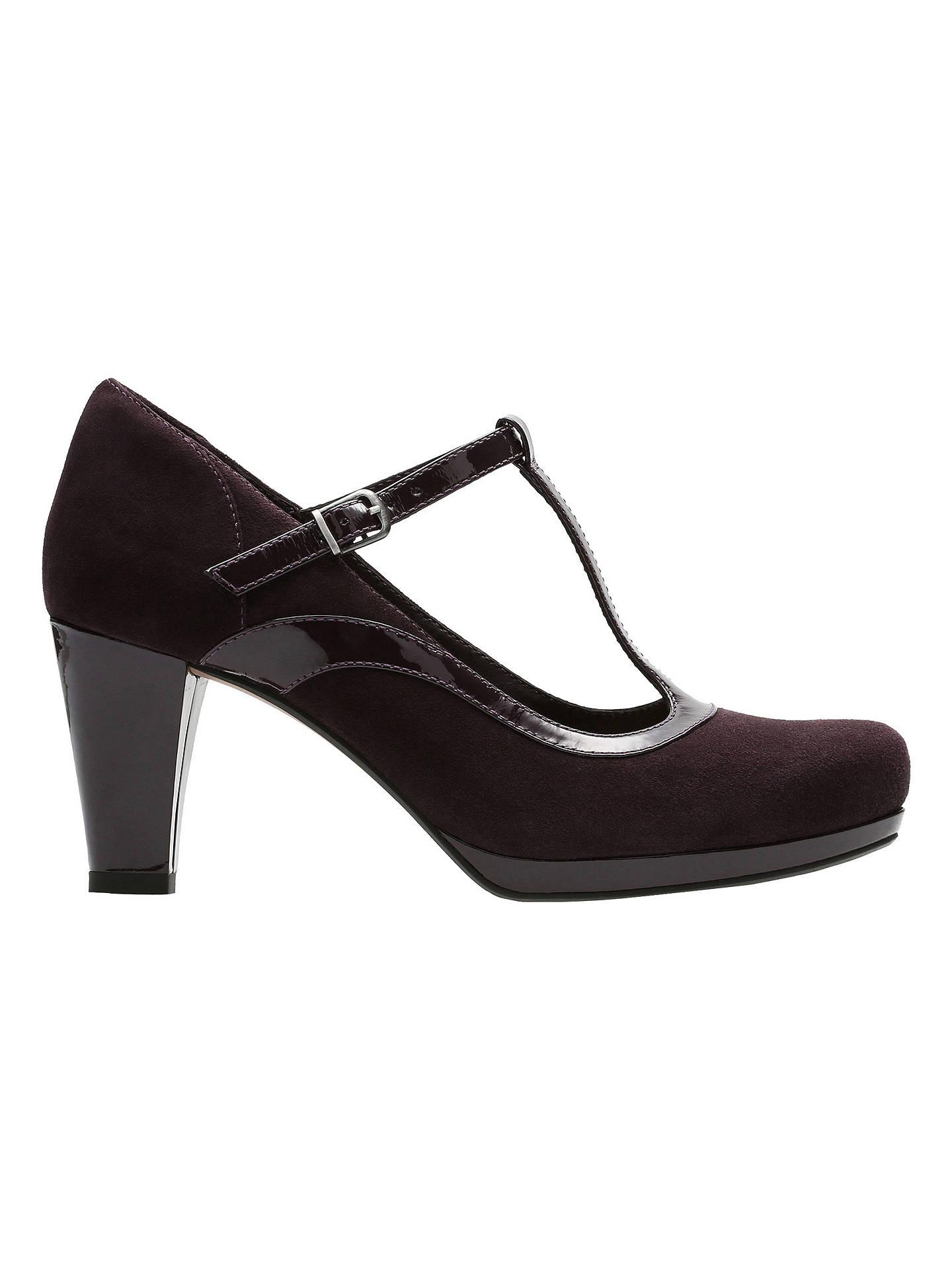 3e572180dbdc5 Buy Clarks Chorus Pitch T-Bar Court Shoes, Aubergine, 4 Online at johnlewis  ...
