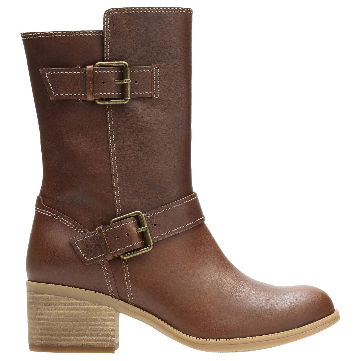 88f28128a74a Clarks Maypearl Oasis Block Heeled Biker Calf Boots, Dark Tan at John Lewis  & Partners