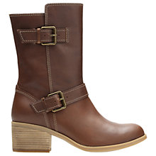 Buy Clarks Maypearl Oasis Block Heeled Biker Calf Boots, Dark Tan Online at johnlewis.com