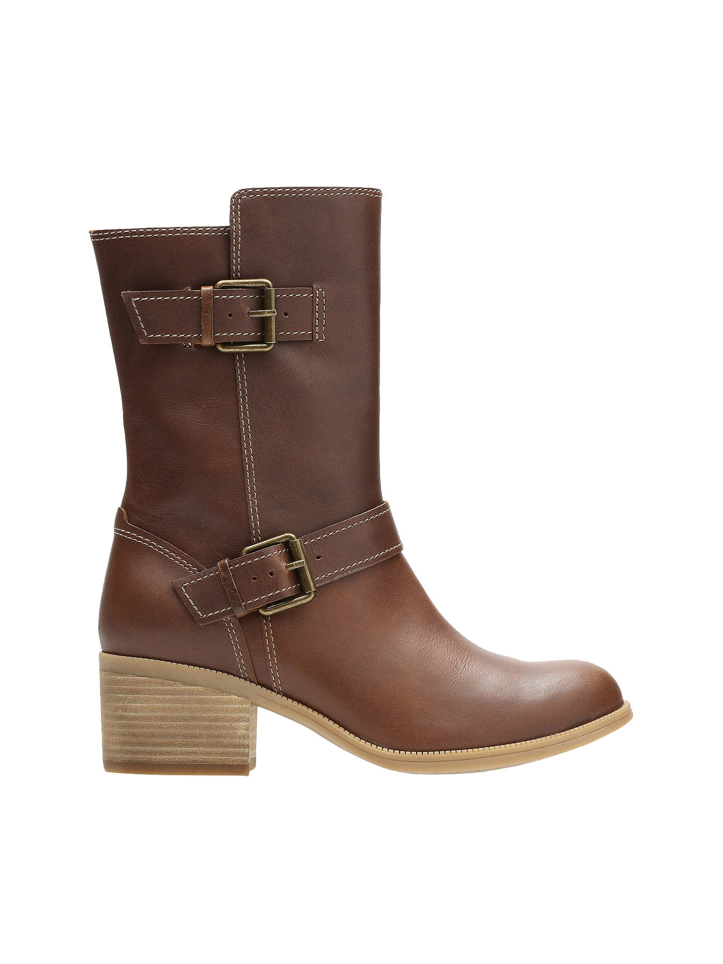 5d28fae8be5a Buy Clarks Maypearl Oasis Block Heeled Biker Calf Boots, Dark Tan, 4 Online  at ...