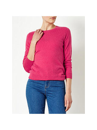 Buy John Lewis Cashmere Crew Neck Jumper, Raspberry, 8 Online at johnlewis.com