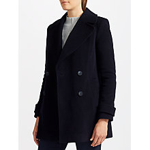 Buy John Lewis Relaxed Double Breasted Pea Coat, Navy Online at johnlewis.com