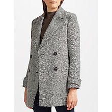 Buy John Lewis Relaxed Double Breasted Herringbone Pea Coat, Black/White Texture Online at johnlewis.com