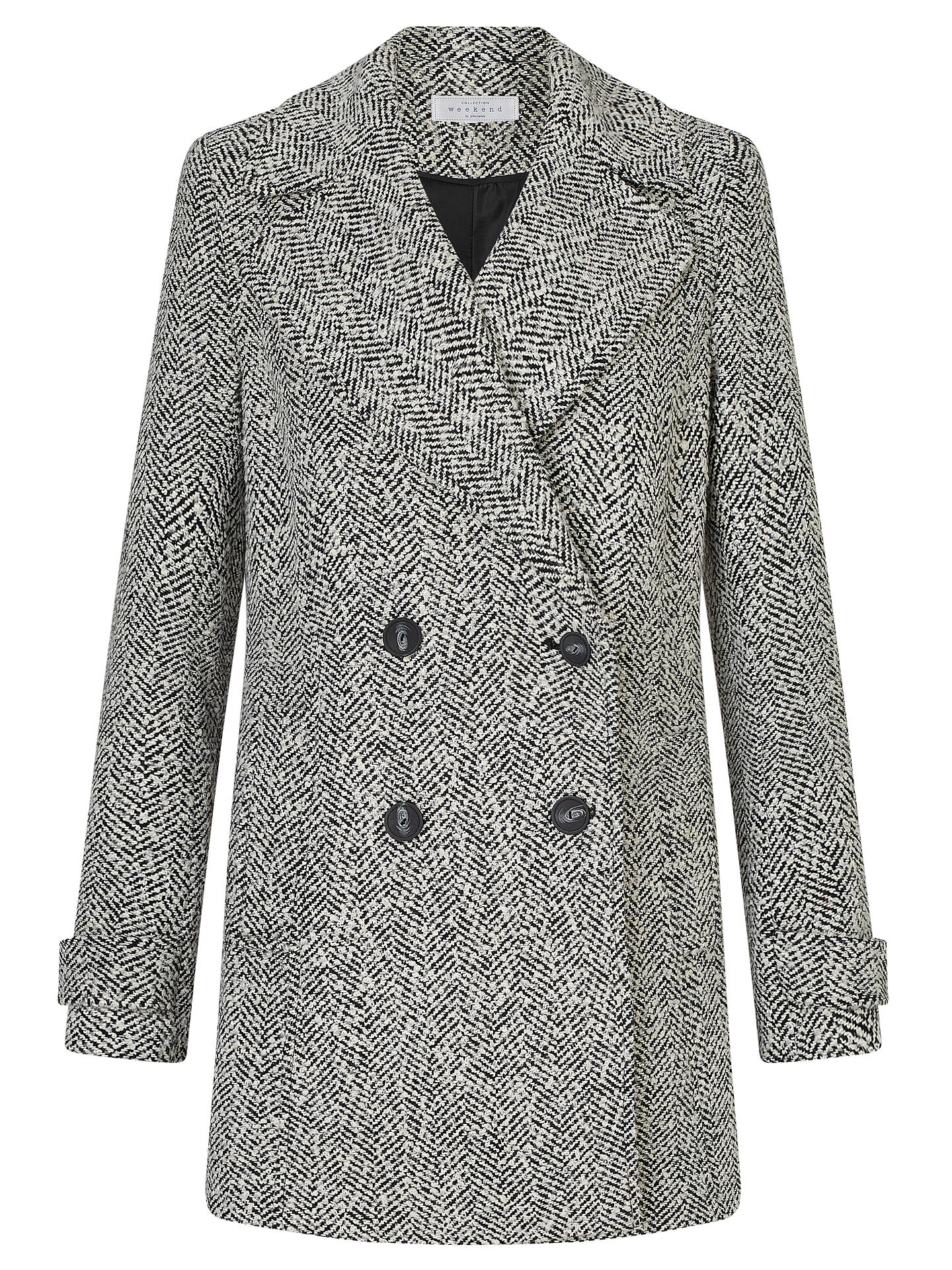 BuyJohn Lewis Relaxed Double Breasted Herringbone Pea Coat, Black/White Texture, 8 Online at johnlewis.com