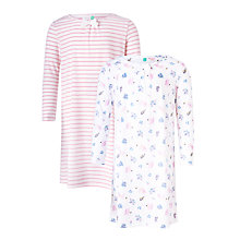 Buy John Lewis Children's Squirrel Print Night Dress, Pack of 2, Pink/White Online at johnlewis.com
