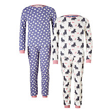 Buy John Lewis Children's Cat and Mouse Pyjamas, Pack of 2, Blue/White Online at johnlewis.com