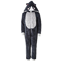Buy John Lewis Children's All-Over Cat Onesie, Black Online at johnlewis.com
