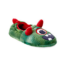 Buy John Lewis Children's One Eyed Monster Slippers, Green Online at johnlewis.com