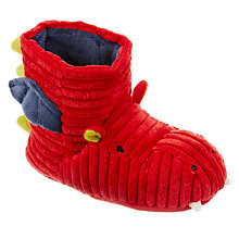 Buy John Lewis Children's Dragon Boot Slippers, Red Online at johnlewis.com