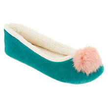 Buy John Lewis Children's Pom Pom Slippers, Turquoise Online at johnlewis.com