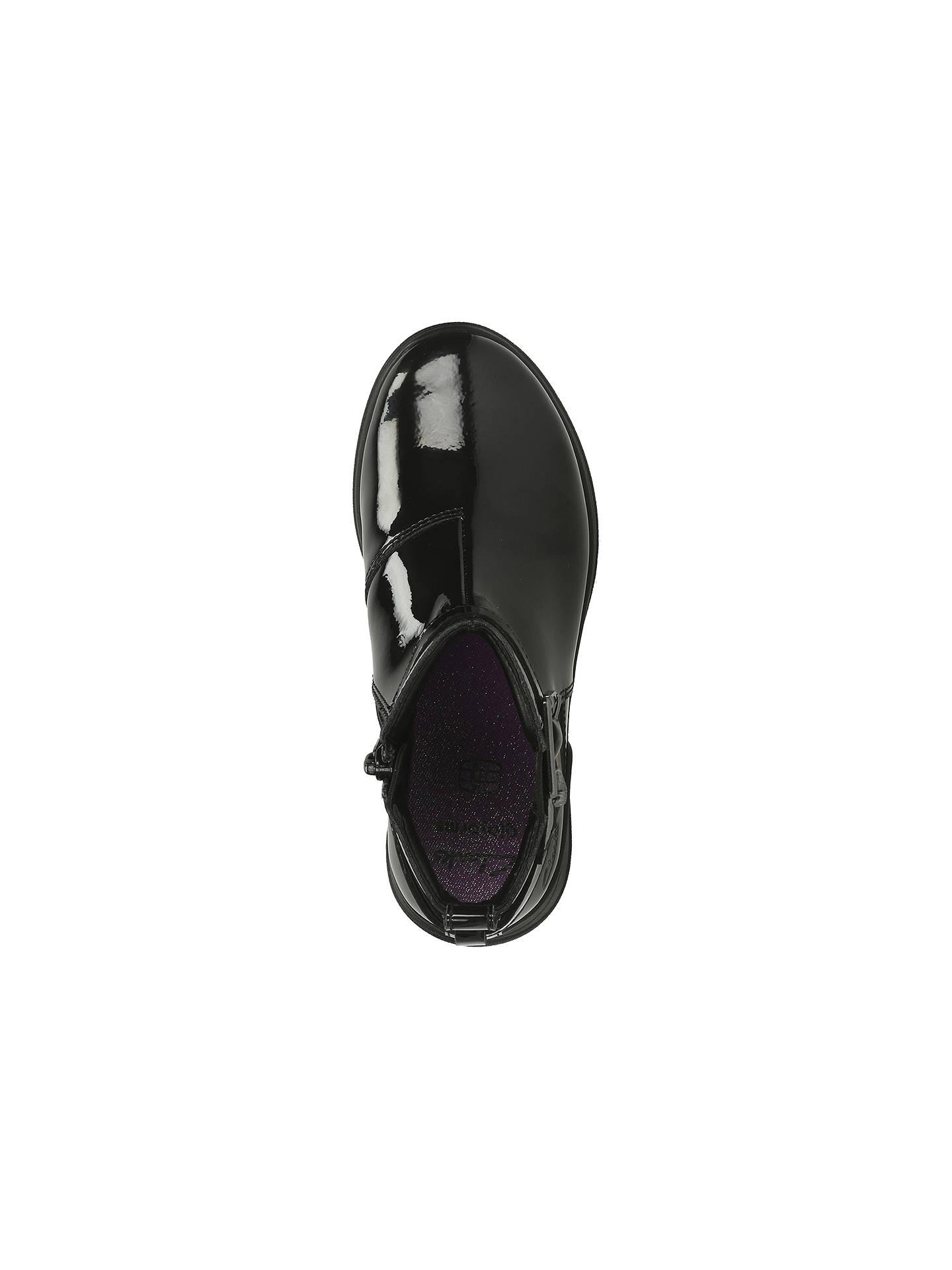 Girls Black Patent Ankle Boots Zip Fastening Mariel Sky Jnr