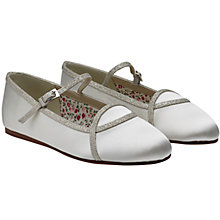 Buy Rainbow Club Children's Orlana Satin Ballet Shoes, Ivory Online at johnlewis.com